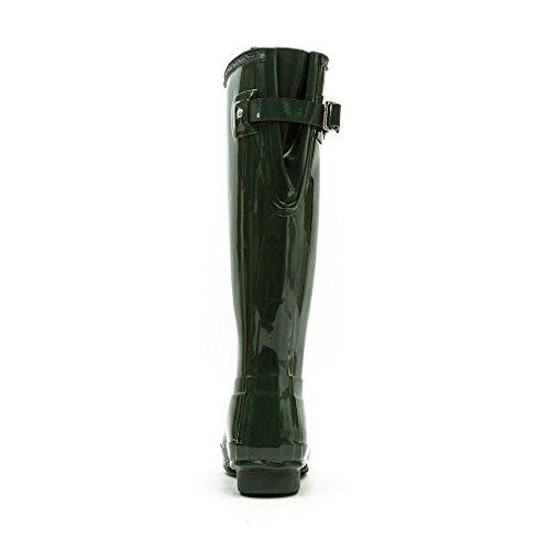 Damen Hunter Original Adjustable Back Gloss Schnee Gummistiefel Stiefel - Grün - 39