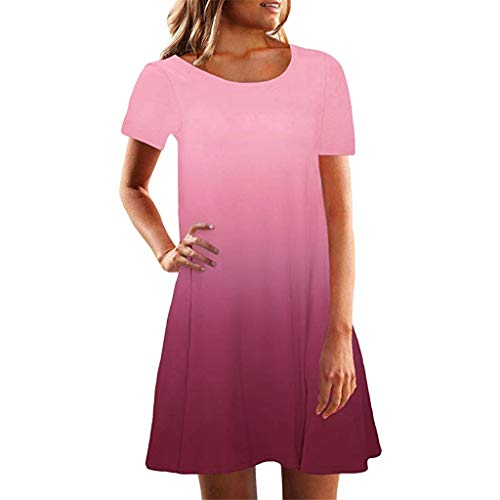 (Sunmoot Women Short Sleeve Crew Neck Casual Loose Fitting Gradient Dresse)