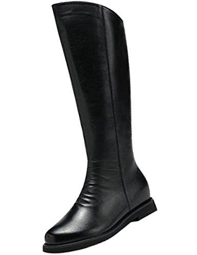 Youlee Damen Winter Seitlicher Reißverschluss Kniehohe Stiefel Leder Stiefel Schwarz