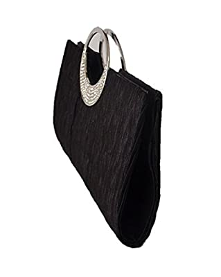 Emour Lady Sateen Pleated Prom Party Wedding Clutch Purse handbag embellished with Rhinestone Ring