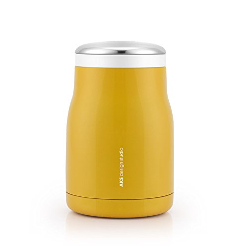 AKS Vacuum Insulated Stainless Steel Food Jar, 16 Oz with a carrying bag (Yellow)