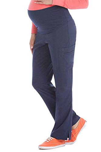 (Med Couture Women's Knit Waist Maternity Scrub Pant, Navy, Medium)