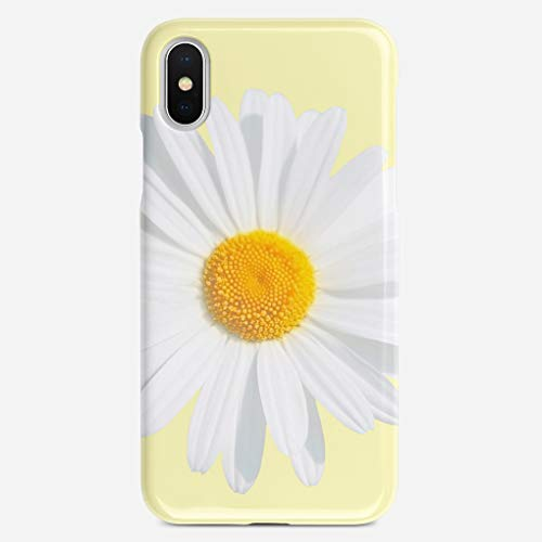 JIUYHG Personalize Case Compatible with iPhone X Case White Daisy Feather Shine Super Slim Back Cover Hard Plastic Protector Case Stylish Design for Apple iPhone X 5.8 inch (Flower Knob Petal Design)