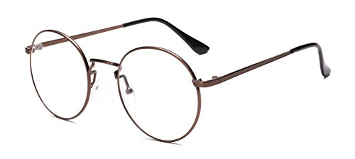 Outray Retro Round Metal Clear Lens Glasses 2136c5 Tan Frame