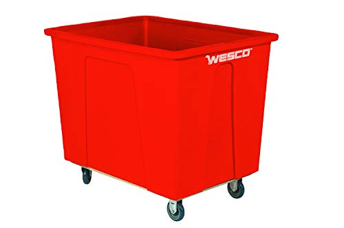 """Wesco Industrial Products 272516 96 Gallon 12 Bushels Plastic Box Truck, 5"""" Polyurethane Wheels, 550 Pound Capacity, 38"""" Length x 28"""" Width x 35"""" Height, Red from Wesco"""