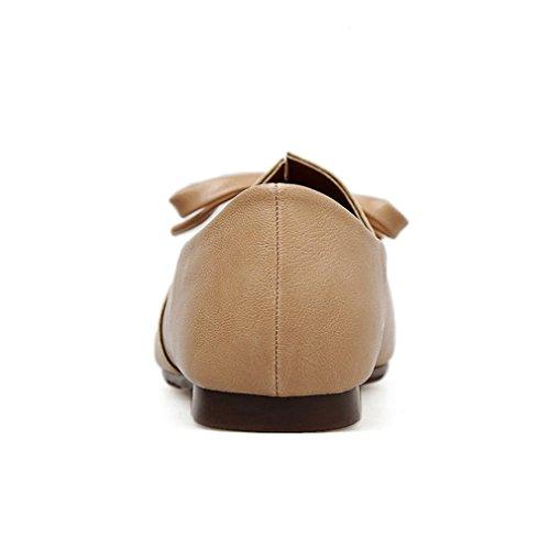 Giy Donna Mocassino Con Punta Piatta Mocassino Piatto Slip-on Comfort Fiocco Classico Abito Mocassino Scarpette Da Ballo Beige