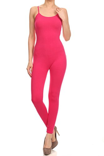 Jersey Bodycon Tank Unitard Spaghetti Strap w/ Low Back Catsuit Jumpsuit (3X, Hot Pink) (Pink Catsuit)