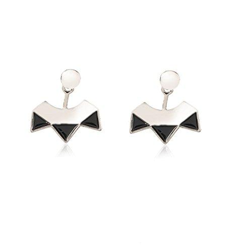ball earrings|clip on earrings|ear cuffs|dangle earrings|earring jackets|hoop earrings|stud earrings|Brief black triangular ear nail in Europe and America,silvery