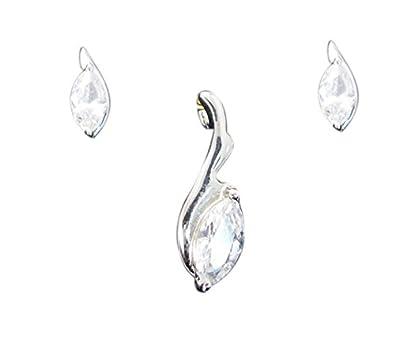 57422360bf0e Riyo blanco cz plata partes de la joyería pendiente pendiente l 1.2in  spswhcz-110065  designer  Amazon.es  Joyería