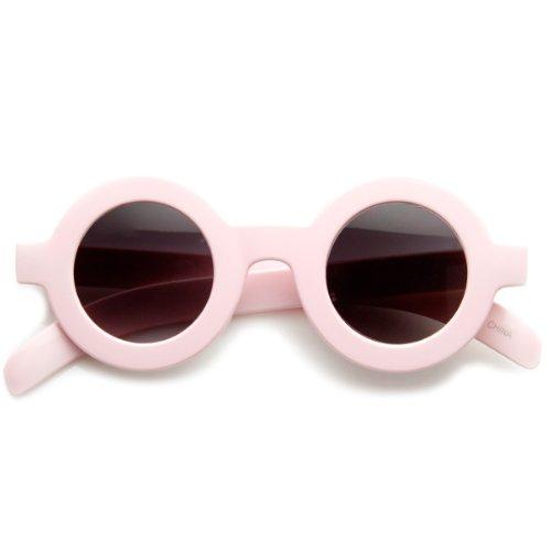 Retro Fashion Bold Frame Horned Rim Round Circle Sunglasses (Pink) -