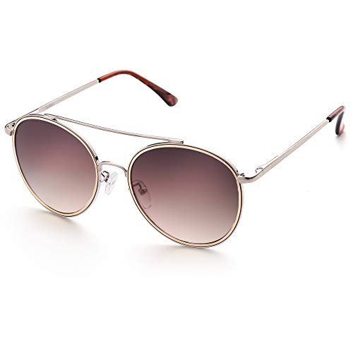 LotFancy Round Sunglasses for Women Men, Round Circle Eyewear with Case, Retro Hippie Steampunk Style, UV400 Protection, 54MM, Brown Gradient Lens Gold Rimmed, Silver Metal Frame