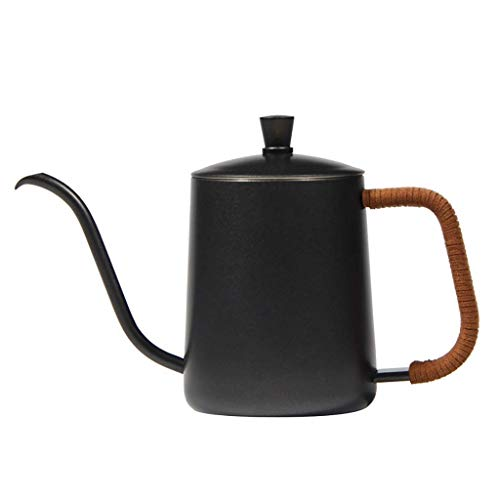 (SCDRSH 600ML Gooseneck Spout Kettle Thicken Stainless Steel Drip Coffee Kettle Plating Pot Long Mouth Coffee Pot Teapot (Black))