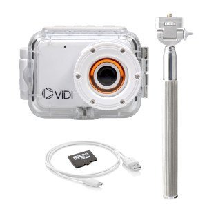 ViDi Waterproof LCD 1080P Action Camera with 4GB Memory Card, Selfie Stick, and Floating Waterproof Case
