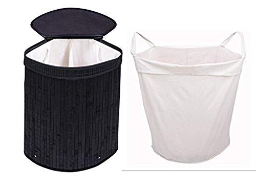 Adorn Home Essentials Adorn Home Corner Laundry Hamper with Attached Hinged Lid |Single and Double Cloth Handle on Basket and Liner | Collapsible | Espresso Black Bamboo (Blac (Corner Hamper)