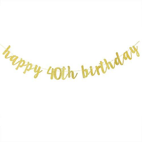 Karoo Jan Happy 40th Birthday Banner Gold Glitter Hello 40th Hang BuntingBirthday Party Decorations Supplies -
