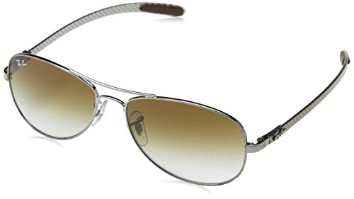 Ray-Ban Men's RB8301 Aviator Sunglasses, Gunmetal/Brown Gradient, 56 ()