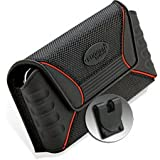 Rugged Equipment RuggedQXPC Large Horizontal Pouch With Magnetic Closure  And Clip For Apple IPhone 5 (Black/Red)