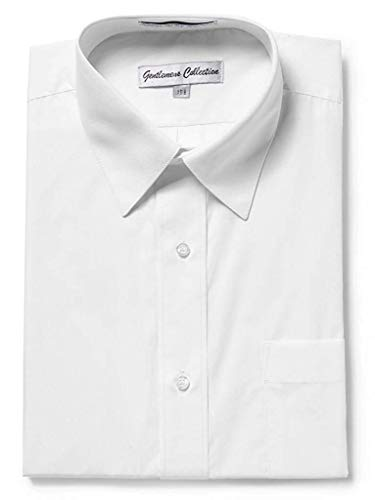 - Gentlemens Collection Mens 1904S Short Sleeve Slim Fit Easy Care Dress Shirt - White - 19 Slim