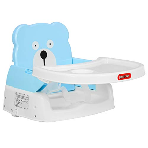HONEYJOY Baby Booster Seat, 2 in 1 Portable Booster Feeding Seat W/Safety Belt, Removable Tray, Cup Holder for Toddlers (Blue) (Fisher Price Healthy Care Booster Seat Green Blue)