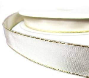 2 Yds Gold Edge Ivory Off White Satin Wired Ribbon 7/8