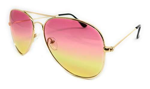 Classic Aviator Sunglasses Metal Teardrop Shape Mens Womens (Gold Frame, ()