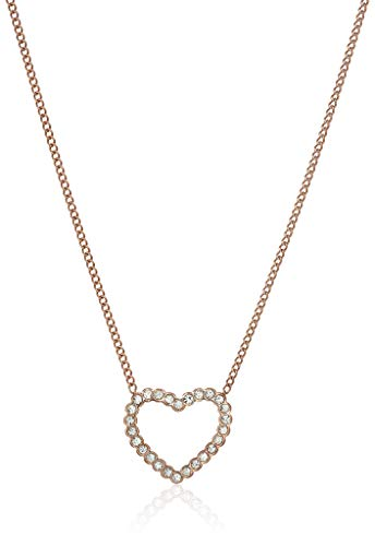 Rose Pendant Fossil (Fossil Women's Open Heart Rose Gold-Tone Stainless Steel Necklace)