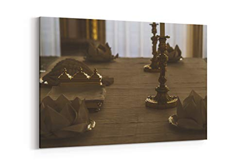 Bronze Flooring Wood and Table - Canvas Wall Art Gallery Wrapped 40