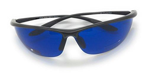 MyUV Golf Ball Finder Blue Lens Sunglasses%100 UV Production (Black, 63) -