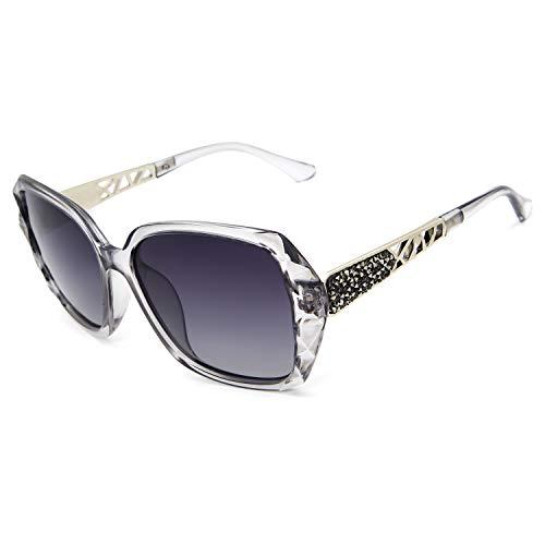 Leckirut Women Shades Classic Oversized Polarized Sunglasses 100% UV Protection Eyewear Transparent Gray Frame/Gray Lens