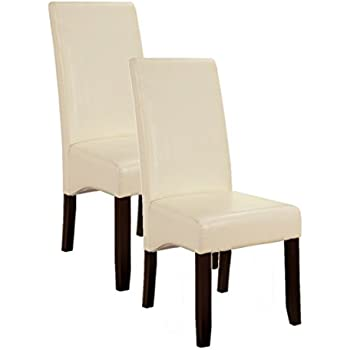 Merveilleux Kingu0027s Brand Set Of 2 Cream White Parson Chairs With Espresso Finish Solid  Wood Legs