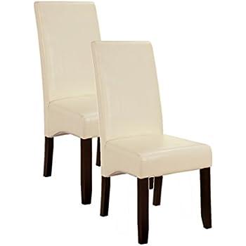 Merveilleux Kingu0027s Brand Set Of 2 Cream White Parson Chairs With Espresso Finish Solid  Wood Legs