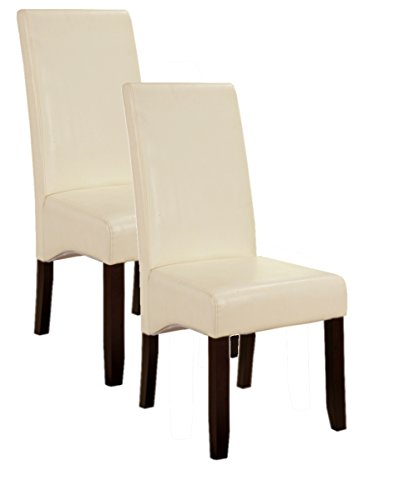 King's Brand Set of 2 Cream White Parson Chairs With Espresso Finish Solid Wood Legs (Cream Faux Leather Dining Chairs)