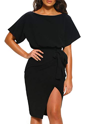 Arainlo Ladies Retro Short Sleeve Tie Waist Midi Dress Vintage Bodycon Bottom Slit Party Dresses for Women Juniors Black L