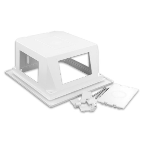 Leviton 47617-REB Recessed Entertainment Box Includes Low Profile Frame, White Behind Wall