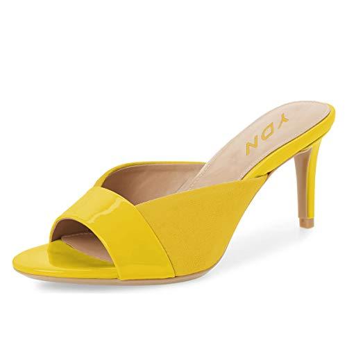 (YDN Women Trendy Peep Toe Mid Heel Pumps Slip on Mules Slide Slipper Stiletto Shoes Yellow 10)