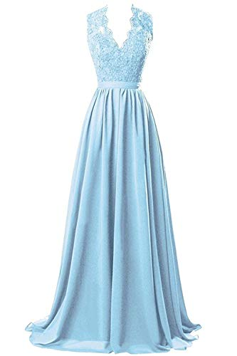 Twelve Century Crystal Light - Lace V-Neck Open Back Chiffon Long Bridesmaid Dresses Evening Party Prom Gowns Sky Blue