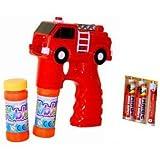 1 x Feuerwehr Auto Seifenblasen Pistole LED Licht Funktion Seifenblasenmaschine Bubbre Gun inkl. 2x Seifenblasenlösung / Flüssigkeit & 3 AA Ambe Batterie