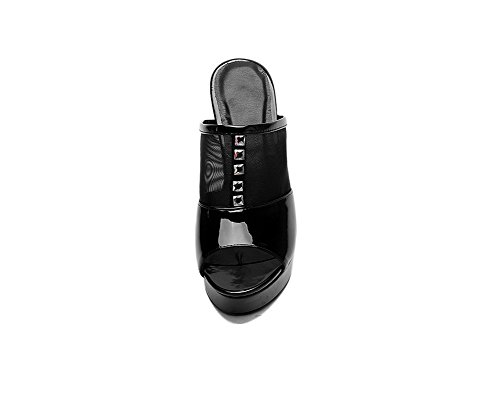 WeiPoot Womens Pull On Open Toe High Heels Patent Leather Solid Slippers Black S4r6yO