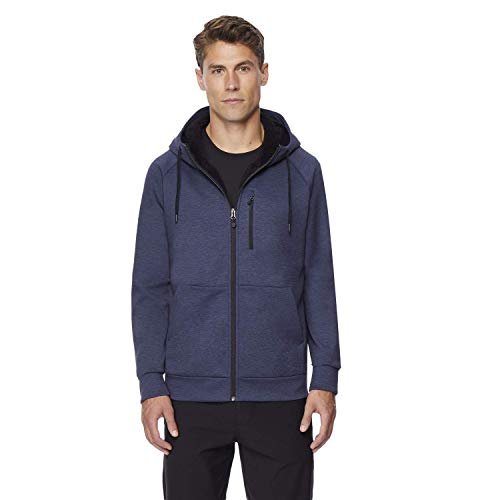 32 DEGREES Mens Fleece Tech Sherpa Lined Hoodie, Heather Storm Night, Large
