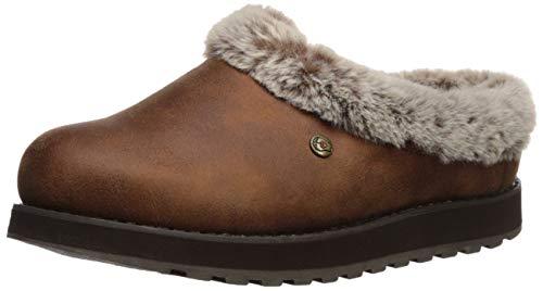 Skechers BOBS Women's Keepsakes-R E M Wide Width Faux Fur Lined Shootie with Memory Foam Slipper, Brown, 9 W US