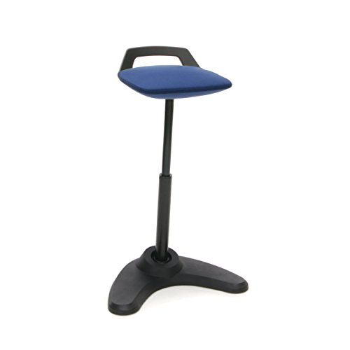 OFM VIVO Adjustable Height Bar Stool - Contemporary Perch Stool Chair, Blue with Black Trim (2800-BLK-BLU) ()