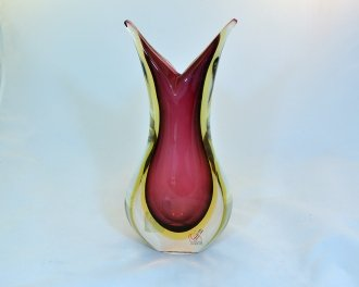 Murano Glass Sommerso Vase Ruby and Topaz (Ruby Rectangular Vase)