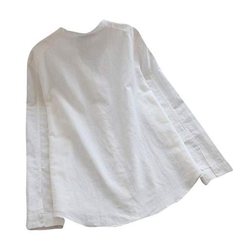 Con A Semplice Bianca Lunghe Camicetta Casual Donna Da Cime Maniche Moda V Bottoni Firally top camicia Scollo 4w5q86aW
