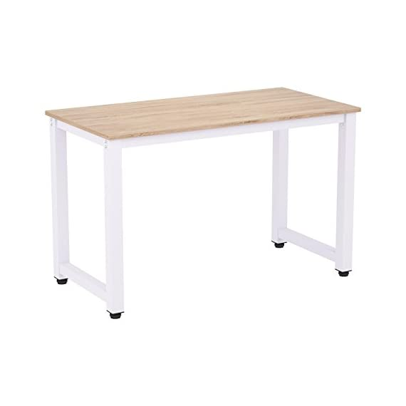 """47"""" Writing Desk Table Workstation for Home & Office (Oak) - SPACIOUS HOME OFFICE DESK- The 47.2"""" spacious office desk provides you with an ample workspace for your home office activities. Sufficient enough to hold a computer, printer and more. The decent size table measures 47.2(L) x 22.8(W) x 30(H)inches. And the underneath large space allows you to move your legs freely and store your office chair. MINIMALIST DESIGN STURDY TABLE- Crafted with solid MDF wood paneling seamlessly blends with the powder coated thick steel leg frame, which ensures stability and durability of the PC office desk. And thick MDF board with PVC edge band makes the study desk top anti-scratch and waterproof and very easy to clean. STABILE & RELIABLE GAMING TABLE - Each leg underside features adjustable leg fittings which can be adjusted up to 1 inch so you can have premium stability and protects the floor from being scratched. - writing-desks, living-room-furniture, living-room - 31GUrJTeHGL. SS570  -"""
