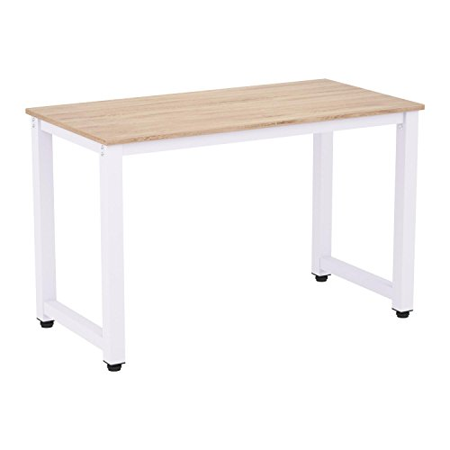 Merax Modern Simple Design Computer Desk Table Workstation for Home & Office (White and Oak)