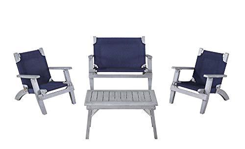 Linon 4-Pc Rosemary Kids Outdoor Set in Gray