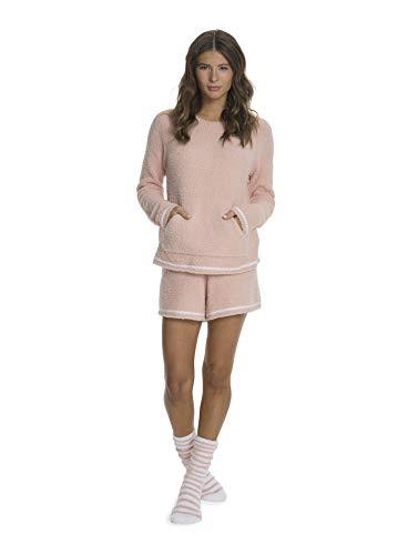 Barefoot Dreams CozyChic 3-Piece Lounge Set for Women, Fuzzy Socks, Shorts, Long-Sleeved Top Peach (Fuzzie Blankets)