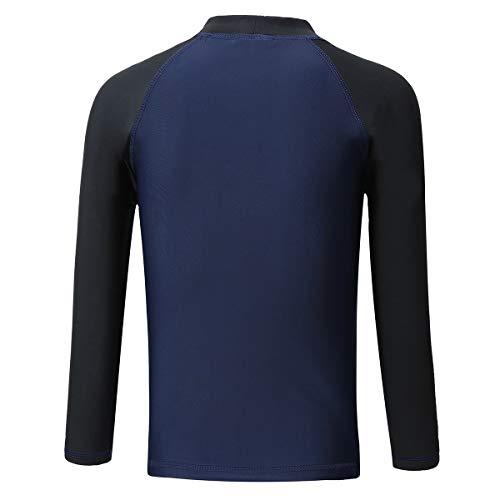 PHIBEE Boys' Rash Guard Shirt Long Sleeve UPF 50+ Sun Protection Swimwear