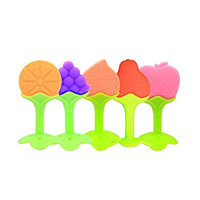 Detectorcatty Baby Teething Toys Soft Silicone Natural BPA Free Fruit Teethers with Pacifier Clip/Holder for Toddlers & Infants: Toys & Games