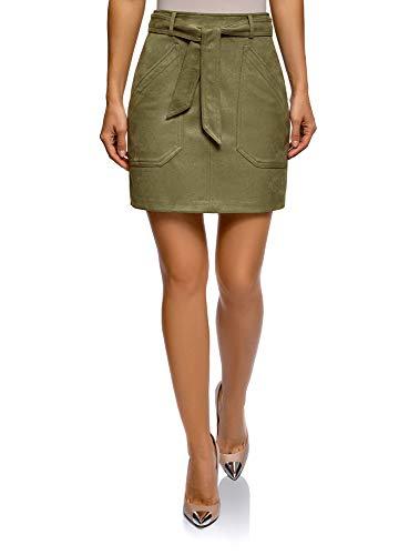 oodji Ultra Women's Belted Faux Suede Skirt, Green, 2